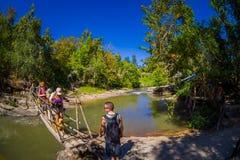 CHIANG RAJA TAJLANDIA, LUTY, - 01, 2018: Plenerowy widok niezidentyfikowani ludzie chodzi w tropikalnym tropikalnym lesie deszczo Fotografia Stock