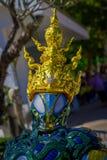 CHIANG RAJA TAJLANDIA, LUTY, - 01, 2018: Zamyka up Wat Rong Khun: Odprasowywa mężczyzna rzeźbę Obraz Stock
