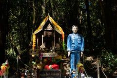 Chiangmai,泰国- 2019年2月22日:晁克罗姆Kiathe,为了纪念品建造的一个小精神亭子寺庙的看法能宣扬 库存照片