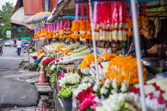 CHIANGMAI,泰国- 2014年6月29日, :Warorot市场,当地calle 库存图片