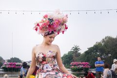 CHIANGMAI,泰国- 2月3 :游行的美丽的妇女在年鉴42th清迈花节日, 2018年2月3日寸 免版税图库摄影