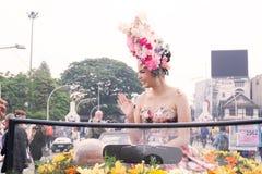 CHIANGMAI,泰国- 2月3 :游行的美丽的妇女在年鉴42th清迈花节日, 2018年2月3日寸 免版税库存图片