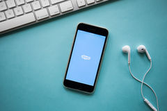 CHIANGMAI, ΤΑΪΛΑΝΔΗ - 26 Αυγούστου 2016: Το Skype είναι μια φωνή-πέρα-IP s στοκ εικόνα