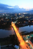 Chiangmai bridge in the night Royalty Free Stock Photos