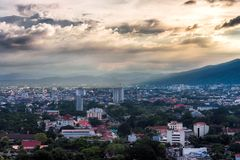 Chiangmai City. View from highest tower in Chiangmai stock photography