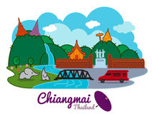 Chiangmai city of thailand - cartoon landmark traval location vector design Stock Image