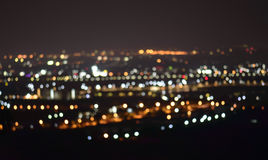 ChiangMai cityscape at night time, Blurred Photo bokeh.  Royalty Free Stock Images