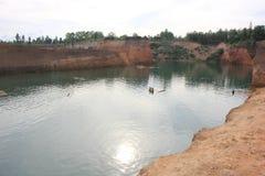 Chiangmai del barranco de Hangdong Resevoir de la laterita vieja de la excavación foto de archivo libre de regalías
