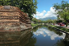 Chiangmai moat and acient wall Stock Photo