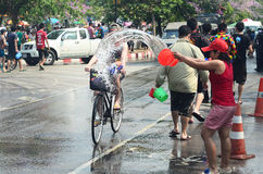 Chiangmai Songkran festival.Unidentified men and women traveler Like to join the fun with splas Stock Photos