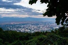 Chiangmai stadsscape på siktspunkt Fotografering för Bildbyråer
