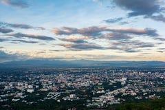 Chiangmai stadsscape på siktspunkt Arkivbilder