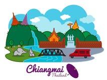 Chiangmai-Stadt von Thailand - Standort-Vektordesign des Karikaturmarksteins traval vektor abbildung