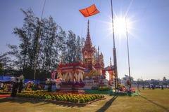 ChiangMai, Tailândia - 21 de janeiro de 2018: O príncipe anterior de Phra Khru Sophon Thammunanu da cerimônia da cremação do dist fotos de stock