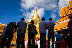 Chiangmai, Tailandia - 17 de enero de 2016 - Wat Phra That Doi Suthep, templo histórico popular El templo fundado en 1385 es un t Fotografía de archivo libre de regalías
