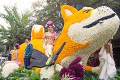 CHIANGMAI, TAILANDIA - 3 FEBBRAIO: Bella donna sulla parata nell'annuale 42th Chiang Mai Flower Festival, il 3 febbraio 2018 Fotografia Stock