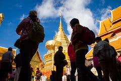 Chiangmai, Tailandia - 17 gennaio 2016 - Wat Phra That Doi Suthep, tempio storico popolare Il tempio fondato nel 1385 è una t imp Immagini Stock Libere da Diritti