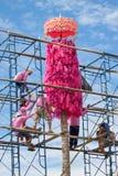 CHIANGMAI-THAILAND; 9月05,2014;加入宗教仪式节日的许多人民 免版税库存照片