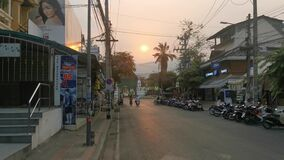 The traffic  in Chiang Mai town during the Covid-19