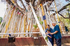 CHIANGMAI, THAILAND-APRIL 15 : Worship in Songkran Festival , A. Family crutches PHO tree instead for crutches long life  in Jed Yod temple. on April 15, 2010 Royalty Free Stock Images