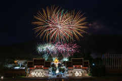 CHIANGMAI, THAILAND-August  12 : Firework Queen Sirikit Ceremony Stock Images