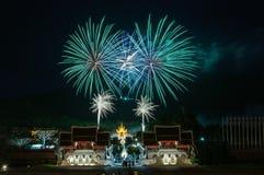 CHIANGMAI Thailand-Augusti 12: Ceremoni för fyrverkeridrottning Sirikit Royaltyfri Bild