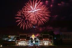 CHIANGMAI Thailand-Augusti 12: Ceremoni för fyrverkeridrottning Sirikit Arkivfoto