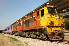 Locomotive no.4224 for train no.14. CHIANGMAI, THAILAND - FEBRUARY 12 2014: Alsthom locomotive no.4224 for train no.14 from chiangmai to Bangkok. Photo at Stock Image