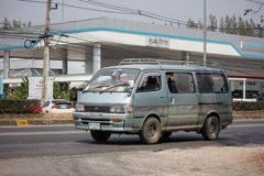 Private Toyota Hiace old Van Car. Chiangmai, Thailand - February 26 2019: Private Toyota Hiace old Van Car. On road no.1001, 8 km from Chiangmai city asia asian royalty free stock image