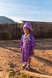 Chiangmai,THAILAND-JAN 1,2016 : Hmong hill tribe girl in traditional dress beautiful purple in Hmong village,Chiangmai,THAILAND o royalty free stock images