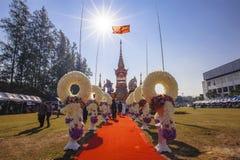 ChiangMai, Thailand - Januari 21, 2018: De vroegere prins van Phra Khru Sophon Thammunanu van de crematieceremonie van Saraphi-di Royalty-vrije Stock Foto's