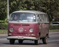 Vintage volkswagen van. Chiangmai, Thailand - January 22 2019: Vintage volkswagen van. Photo at road no.121 about 8 km from downtown Chiangmai, thailand royalty free stock images