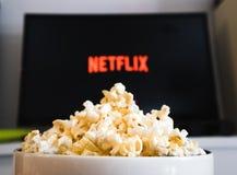 Free CHIANGMAI, THAILAND - JULY 5, 2019- Popcorn Bowl And Netflix Logo On Smart TV Royalty Free Stock Image - 152638486