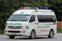 Ambulance van of Doisaket hospital. Chiangmai, Thailand - July 31 2018: Ambulance van of Doisaket hospital. On road no.1001, 8 km from Chiangmai city stock images