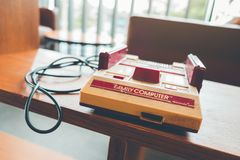 CHIANGMAI, THAILAND - JULY 7, 2018 : 80s consoles classic games royalty free stock photo