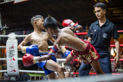 CHIANGMAI THAILAND- JULY 30 : Unidentified players in Muaythai Royalty Free Stock Photography