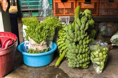 CHIANGMAI,THAILAND-JUN 3,2019 : vegetables from farm prepare for sale in chiangmai market stock photo
