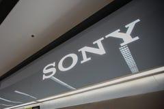 Chiangmai Thailand - Juni 16, 2017: Sony shoppar tecknet, denna filial Fotografering för Bildbyråer