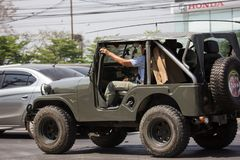 Old Jeep Private car. Chiangmai, Thailand - March 8 2019: Old Jeep Private car. Photo at road no 1001 about 8 km from downtown Chiangmai, thailand 4x4 asia asian royalty free stock image