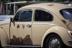Vintage Private Car, Volkswagen beetle. Chiangmai, Thailand - March 1 2019: Vintage Private Car, Volkswagen beetle. Photo at road no.1001 about 8 km from stock photos