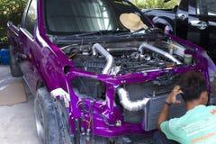 CHIANGMAI,THAILAND-MAY 24,2019 : racing truck in Joe 39 garage. Repair service royalty free stock photo