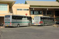 New Scania 15 Meter bus of Greenbus company. CHIANGMAI, THAILAND -NOVEMBER 25 2015: New Scania 15 Meter bus of Greenbus company. Route Phuket and Chiangmai. VIP Royalty Free Stock Images