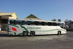 New Scania 15 Meter bus of Greenbus company Stock Photos