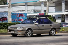 Private Old car, Toyota Corolla. Chiangmai, Thailand - November 6 2018: Private Old car, Toyota Corolla. On road no.1001, 8 km from Chiangmai Business Area royalty free stock photos