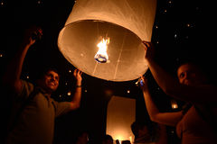 CHIANGMAI, THAILAND - NOVEMBER 16 :Thai people floating lamp. No Stock Photography