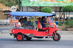 CHIANGMAI , THAILAND - OCTOBER 20 2014: An unidentified Red Tuk tuk taxi chiangmai, Service in city and around.  Photo at New Chia Stock Image