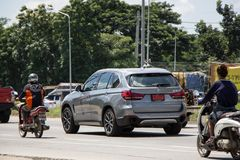 Private Car. Bmw X5. Chiangmai, Thailand - September 25 2018: Private Car. New Bmw X5. Photo at road no.1001 about 8 km from downtown Chiangmai, thailand stock photo