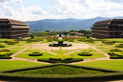 chiangrai的庭院,在泰国北部 免版税库存图片