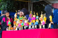CHIANGRAI, THAILAND - DECEMBER 29: trophy cup on the table in sp. Ort competition events on December 29, 2017 in Chiangrai, Thailand stock image