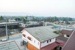 ChiangRai Thailand - Februari 24: Bron var den byggda jordskredet som orsakades av många faktorer Royaltyfri Bild
